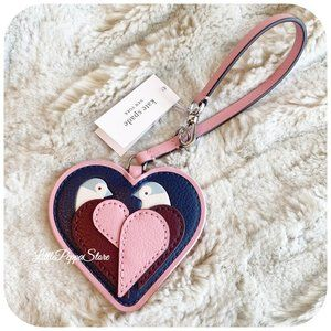 KATE SPADE LOVE BIRD HEART LEATHER CHARM KEY FOB